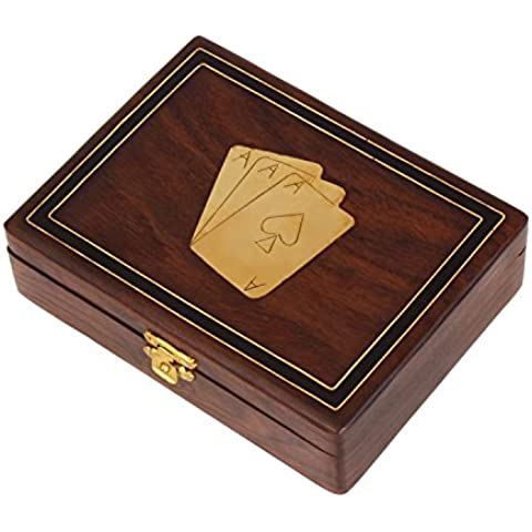 Natale Ringraziamento gli oggetti artigianali decorativi di legno doppio Scheda di gioco Holder Deck Box con ottone Ace design Inlay &