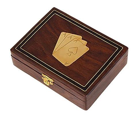 Cadeaux de noel, Cadeaux de Thanksgiving de Noel fait main Decoratifs en bois double carte a jouer Deck titulaire Box avec laiton Ace Design incruster & Latch