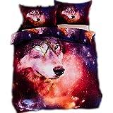 CHAOSE Wolf Universum Bettwäsche Set,Superweiche Polyester-Baumwolle,2-teilig (1 Bettbezug + 1 Kissenbezüge 48x74cm) (Single Size(135x200CM Einzelbett))