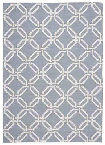 Nourison Teppich Mondrian 99446279651-Licht blau handgewebt Teppich, blau 3Ft 9Zoll x 5ft 9Zoll - Nourison Teppich Blau