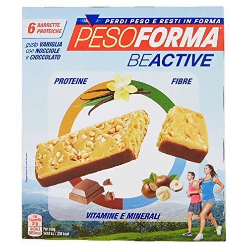 Pesoforma beactive vaniglia, nocciole e cioccolato - snack proteico sport - 6 barrette proteiche - 112 kcal