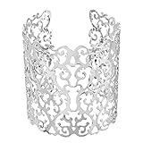 Souarts Bijoux Femme Bracelet Manchette Motif Creux Rétro Couleur Argent Mat 1PC