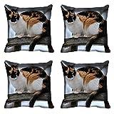 meSleep Cat Digital Kissenbezug, Bedruckt Set von 4PCS Multicolor Kissenbezug, Wohnzimmer Polyester Betten Überwurf Art Deco 16