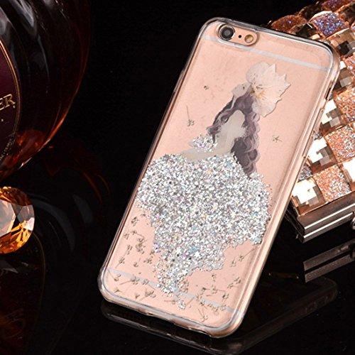 Phone case & Hülle Für iPhone 6 / 6s, Epoxy Dripping gepresst echte getrocknete Blume Glitter Powder Meerjungfrau weichen TPU Schutzhülle Back Cover ( Color : Magenta ) Silver
