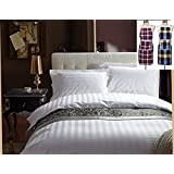 Reliable Trends 300 TC Plain Stripe King Size Elastic Fitted Bedsheets ( Limited Period Offer :- Free 2 Aprons )
