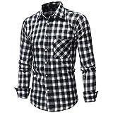 Elecenty Tartan Haushemd Herren,Männer Herbst Winter Sweatshirts Tops Blusen Pulli Blusentop mit Brusttasche Langarm Lässiges Hemd T-Shirt Haushemd Hemdoberteile Haushemd