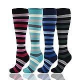 HLTPRO Calcetines de compresión para Mujer y Hombre 20-30 mmHg - 1/2/4 Pares Medias de compresión Mejor para Correr, Crossfit, Viajes, Enfermera, Embarazo de Maternidad, L/XL, 4 Pairs,Colorful Stripe
