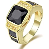 Women's Yellow Gold Plated Ring with Black Sapphire Gemstone Size US 7