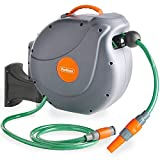 VonHaus 20M Garden Hose - Auto Rewind Wall-Mounted Reel - Included Fixings