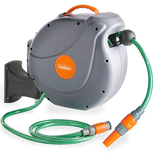 VonHaus Hose Reel | 20M Auto Rewind Wall-Mounted Reel for Garden | Includes Fixings | 180° pivot