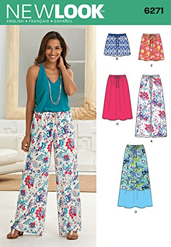 Simplicity New Look Sewing Pattern 6271: Misses' Skirt in Three Lengths and Pants or Shorts, Size A (10-12-14-16-18-20-22), 38-50