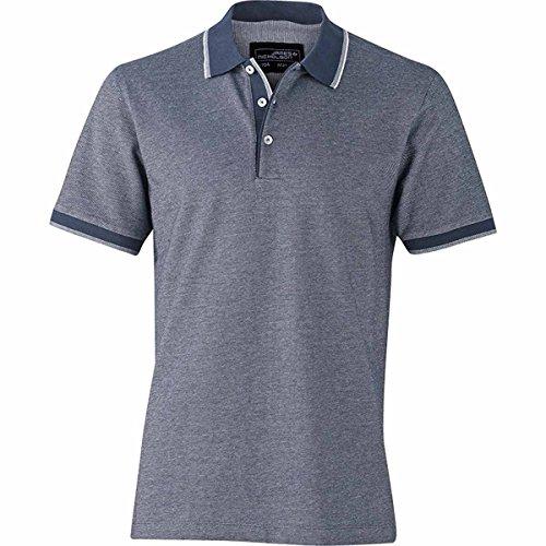 JAMES & NICHOLSON Herren Poloshirt, Einfarbig bleu marine et blanc