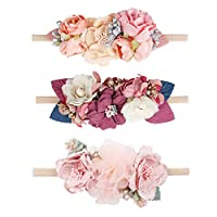 Floral Headbands For Baby Girls Lightweight Flower Nylon Elastic Hair Band For Newborn Infant Toddler (3 Pcs Headbands AC)