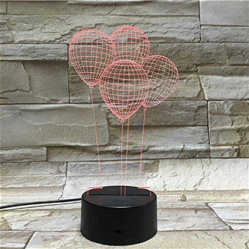 WEREWTR Ballon 3D Nachtlicht Home Decoration Touch 7 Farbwechsel Illusion Lava Lampe