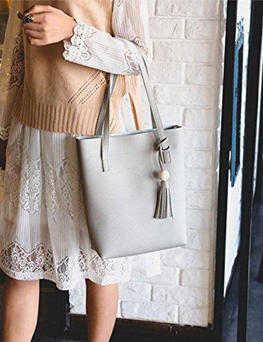 QPALZM 2017 Frauen Leder Quaste Handtasche Umhängetasche Crossbody Geldbörse 3 Packungen Grey