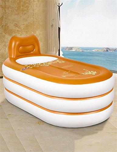 LLD YUGANG Europäische dickere aufblasbare erwachsene Badewanne und Sitze Folding tragbare faltbare Badewanne Kunststoff Reise Dusche Pool Dusche Becken gelb mit elektrischen Luftpumpen und Handpumpe