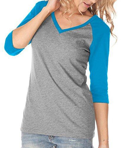 Blouse Chemise T-Shirt Top 3/4 Manches Col V Chemisier de Base de Deux Couleurs Gris Lumière et Bleu