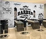Keshj Rétro Salon De Coiffure Fond Papier Peint Mural Pour La Coiffure Barber Shop Fond Décoration Murale Fonds D'Écran Modernes 3D-300Cmx210Cm