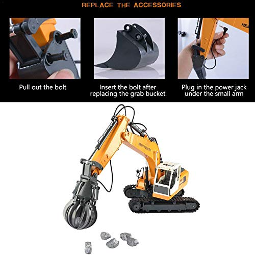 RC Auto kaufen Baufahrzeug Bild 5: Bagger15 Kanal Full Functional 3 in 1 Fernbedienung Auto RC Auto DIY austauschbare Engineering Fahrzeug Spielzeug Graben Bohren greifen Legierung Bagger Spielzeug Fernbedienung Spielzeug*