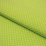 Hans-Textil-Shop Stoff Meterware Punkte 2 mm Weiß auf Hellgrün