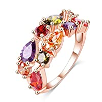Fashion Lady Colorful Crystal Stainless Steel Ring