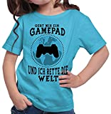 HARIZ  Mädchen T-Shirt Gamepad Welt Retten Gamer Gaming Pixel WASD Level Plus Geschenkkarte Azur Blau 140/9-11 Jahre