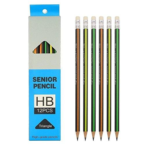 Shulaner Härtegrad HB Bleistifte Schule Bleistift dreieckig Holzbleistifte mit radierer für Kinder 24 Stück