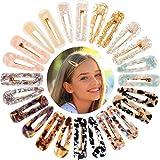 24 Stücke Acryl Harz Haarspangen für Damen Mädchen Mode Geometrische Alligator Haarspangen Elegantes Haar Styling Gold Haar Pins Haarschmuck