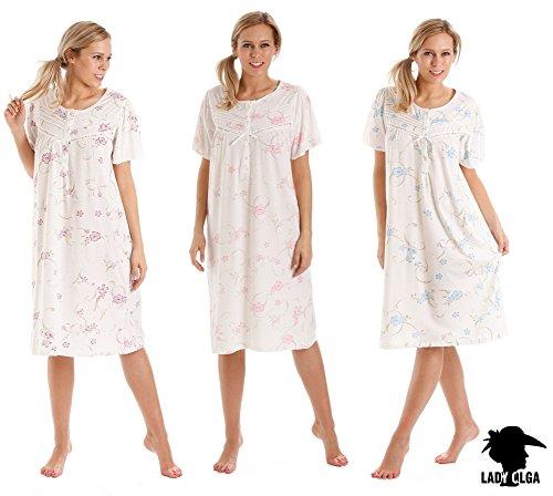 Lady Olga - Chemise de nuit - Femme blanc lilas Medium Rose