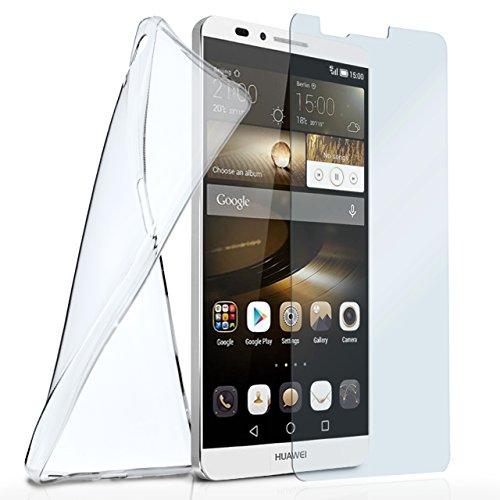 moex Silikon-Hülle für Huawei Mate 7 | + Panzerglas Set [360 Grad] Glas Schutz-Folie mit Back-Cover Transparent Handy-Hülle Huawei Ascend Mate 7 Case Slim Schutzhülle Panzerfolie