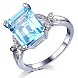 Swiss Blau natürlich Topas Edelstein Solide 14K (585) Weißgold Hochzeit Verlobungsringe mode Diamant Ringe für Damen