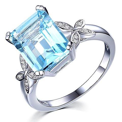 Kardy - 14 Karat (585) Weißgold Brilliant Rund Emerald(8X10mm) Topaze Diamant