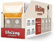 Marchio Amazon - Lifelong Alimento completo per gatti adulti- Selezione di carne in salsa, 2,4 kg (24 sacchett