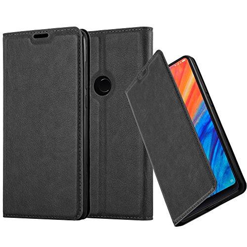 Cadorabo Hülle für Xiaomi MI Mix 2S - Hülle in Nacht SCHWARZ - Handyhülle mit Magnetverschluss, Standfunktion & Kartenfach - Case Cover Schutzhülle Etui Tasche Book Klapp Style