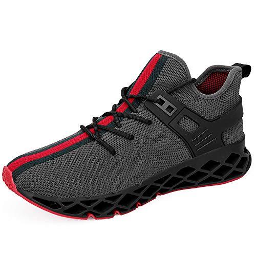 Scarpe da Ginnastica Uomo Scarpe da Corsa Scarpe per Correre Running Sportive Ginnastica Sneakers Scarpe da Casual Basse Traspirante Fitness Training Trekking(Grigio,44)
