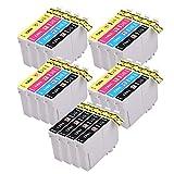 PerfectPrint Compatible Cartouche d'Encre de remplacement pour EPSON SX-230235W 420W 425W 435W 440445W 525WD 535WD 620FW Stylus Office B42WD SX 305FW 305FW T1295(Noir/cyan/magenta/jaune, 20-pack)