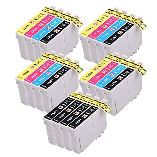 20 compatible t1295 cartucce di inchiostro compatibili ad alta capacità per stampanti epson stylus, 4 x ciano, 4 x magenta, 4 x giallo, 8 nero,