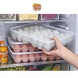 Prokth Eier-Tablett für Kühlschrank, Tablett aus Kunststoff mit Deckel, 34Fächer, einlagig, Frische-Behälter für Eier