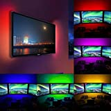 LED Strip Light, Spritumn Non-Waterproof USB Powered TV Back Lamp 5050RGB Colour Changing with Remote Control for TV Backlighting Kitchen Bedroom (200cm)