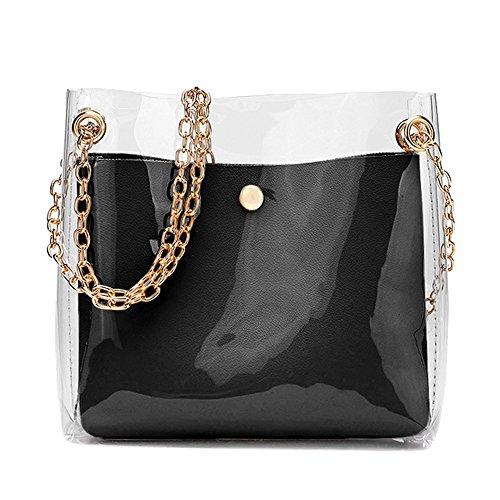OYSOHE Damen Transparent Einfarbig Kette Umhängetaschen Handtasche + Clutch Portemonnaie Handtasche Schwarz Blau Rosa