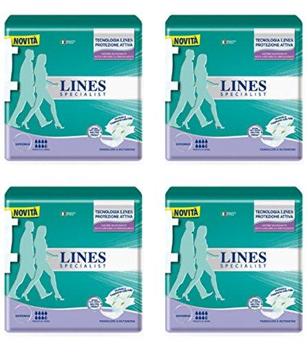 4 X pannolini Lines specialist pannoloni a mutandina per adulti misura media