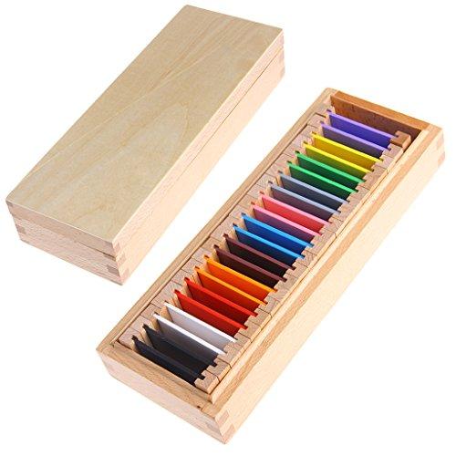 MiSha Tabletas de Color Caja Media, Material Montessori de Madera Juguete de Aprendizaje sensorial de Arte