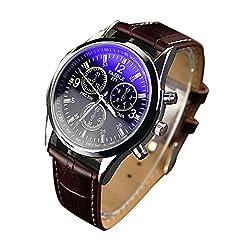 Idea Regalo - Chianrliu Orologio con cinturino in ecopelle, blue Ray, con vetro, al quarzo, Analogico, da uomo, marrone