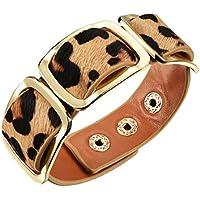 HIJONES Donna Ampia Wrap Wristband Del Braccialetto Del Ribattino Retro Nero/Arancio/Leopard Print Design Regolabile