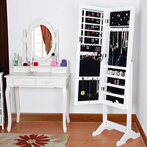 Small specchiera armadietto portagioie portagioielli porta oggetti con anta a specchio luce led chiusura a chiave colore bianco