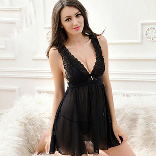 Sexy Dessous Sexy Weibliche Sommer Extreme Versuchung Pyjamas Transparente Tiefe V Lace Nightdress Home Furnishing , black , m