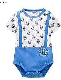 Maillot de bain pour bébé à manches courtes 0-12 mois Maillot bébé maillot 100% coton en néon , 90cm