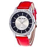Lazzgirl Zhou lian FA Herren- und Damenmode Diamant-Uhr Leder Rosa(Schwarz, Blau, Pink, Pink, Rot, Weiß,One Size)