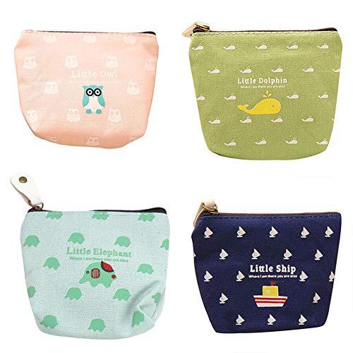 BIGBOBA 4 Stück Mini Leinwand Münzbörsen für Damen Kosmetiktäschchen kleine Make-up Taschen niedliche Brieftasche Münztüte Aufbewahrungstasche für schlüssel, Headset, Lippenstift, Karte (Niedliche Make-up-taschen)