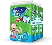 Fine Baby Diapers, DoubleLock Technology , Size 3, Medium 4–9kg, Jumbo Pack. 156 diaper count